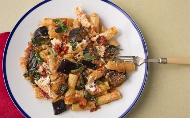 Aubergine, tomato and ricotta rigatoni recipe