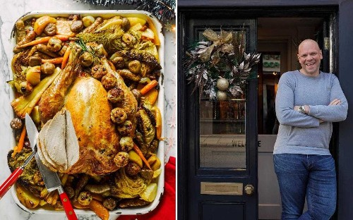 All-in-one roast turkey, caramelised sprouts and marmalade parfait: Tom Kerridge's stress-free family Christmas