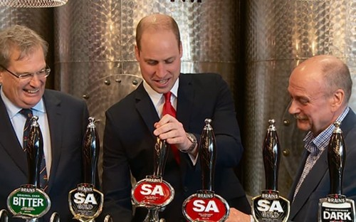 Duke of Cambridge opens Brains Brewery in Cardiff