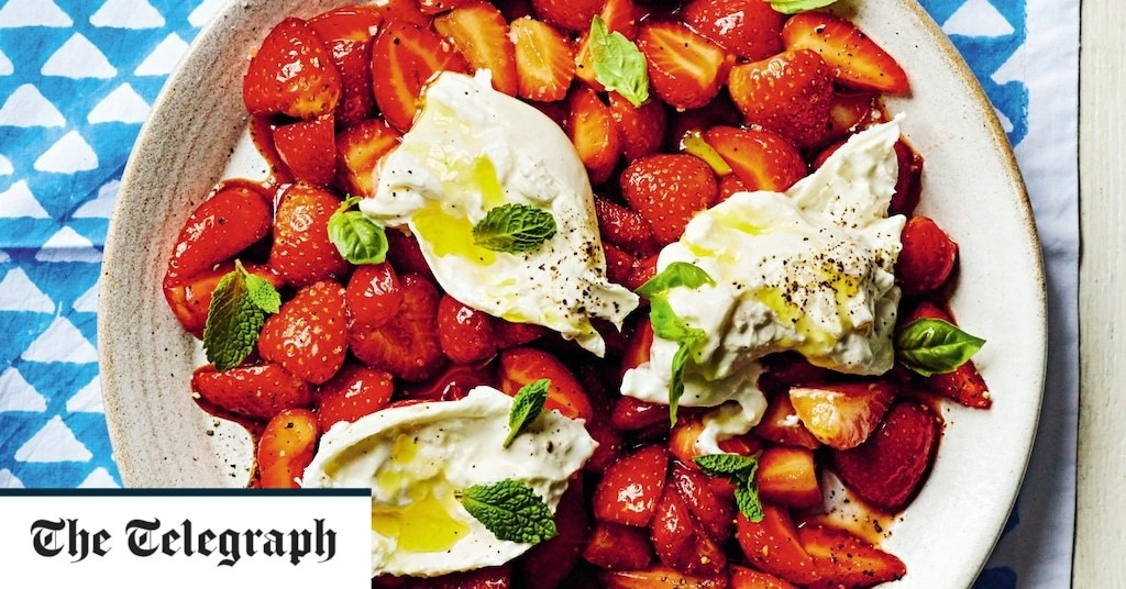 Burrata with balsamic strawberries, basil and mint recipe