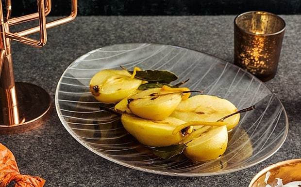 Pears baked with lemon, bay and Marsala recipe