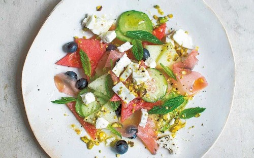 Melon, blueberry and feta salad with ginger and mint