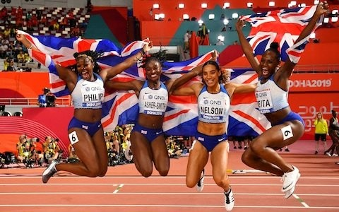 Britain's men and women secure relay silver medals as Dina Asher-Smith becomes the first British athlete to win three medals at a World Championships