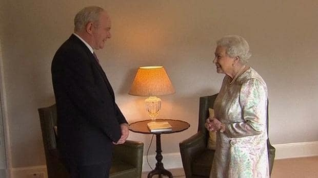 Queen says 'well, I'm still alive anyway' when asked how she is by Northern Ireland's deputy first minister Martin McGuinness