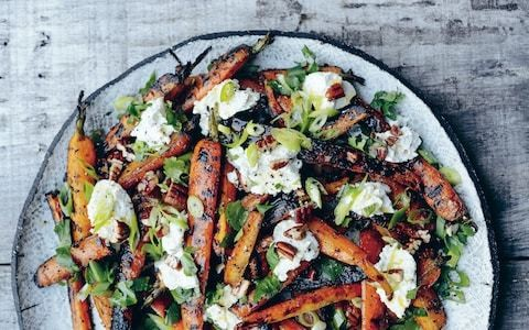 Barbecued carrot, ricotta and toasted pecans recipe