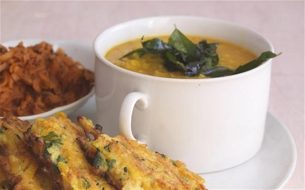 Tamarind dal with carrot chutney and crisp squash patties recipe