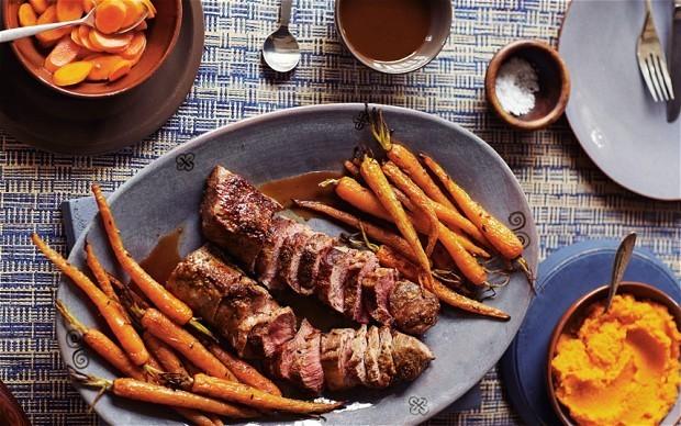 Cumin lamb with carrots three ways