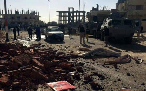 Suicide bomber driving truck packed with explosives hits Egyptian security post in Sinai, killing at least 10