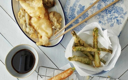 Tempura vegetables and seafood with soy dipping sauce