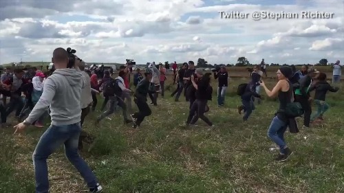 Camerawoman who tripped up refugees fleeing police charged in Hungary