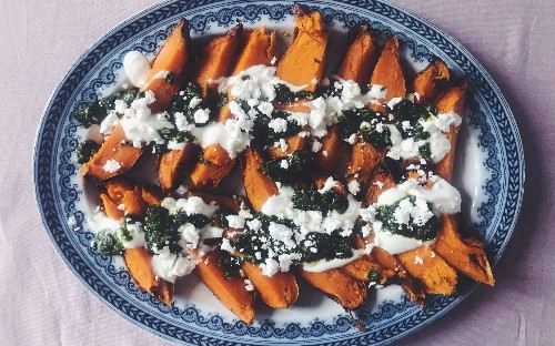 Tonight's dinner: Charred sweet potatoes with coriander salsa verde, yoghurt and feta