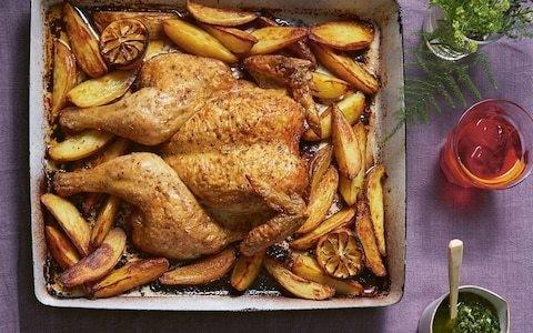 Spatchcock roast chicken with salsa verde recipe
