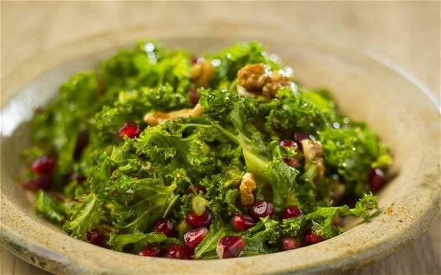 Kale, walnut and pomegranate salad recipe