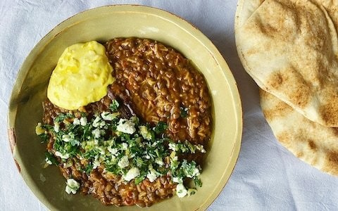 Spiced lentils with saffron yoghurt and preserved lemon gremolata