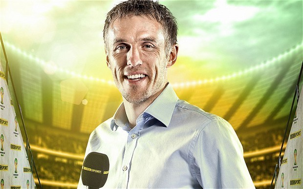 Phil Neville says he was only joking after claiming he would 'two foot' Arsenal midfielder Tomas Rosicky