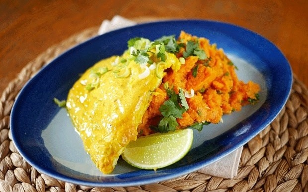 Spiced cod with sweet potato mash recipe