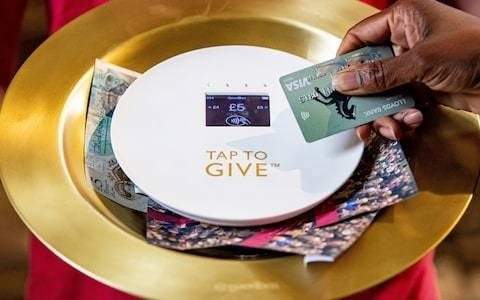 Contactless collection plates used in York Minster for the first time