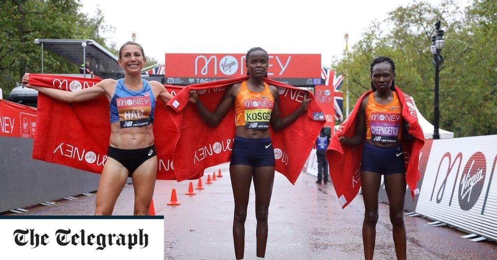 Brigid Kosgei makes light of appalling conditions to retain London Marathon title