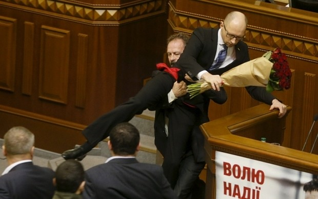 Brawl erupts in Ukrainian parliament as MP attempts to carry out prime minister