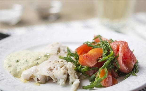 Sea bass with tomatoes, samphire and green goddess sauce recipe
