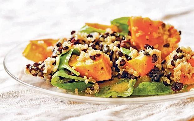 Grain recipes: quinoa, black lentil, pumpkin and spinach salad