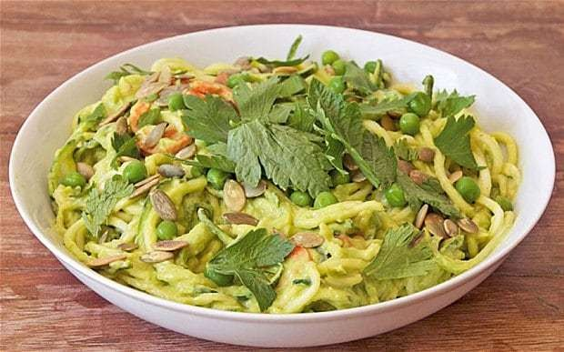 Spiralizer recipe: courgette noodles with minted avocado sauce