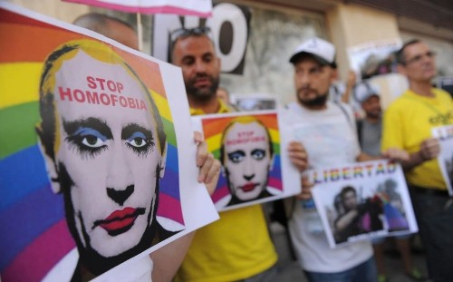 Russia bans 'extremist' picture of Vladimir Putin as a gay clown