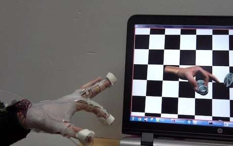 Glove invented to allow wearer to feel objects in virtual reality