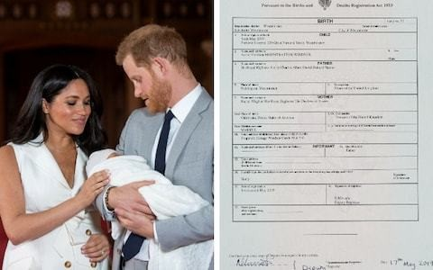 Duchess of Sussex gave birth at Portland Hospital in Westminster, royal baby's birth certificate confirms