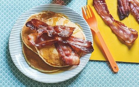 Potato pancakes with bacon and maple syrup recipe