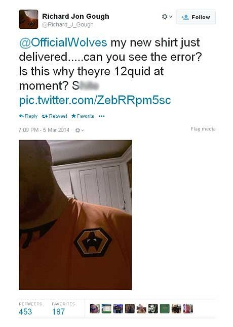 Wolves fan the winner after upside down shirt prompts swift and generous response from the club