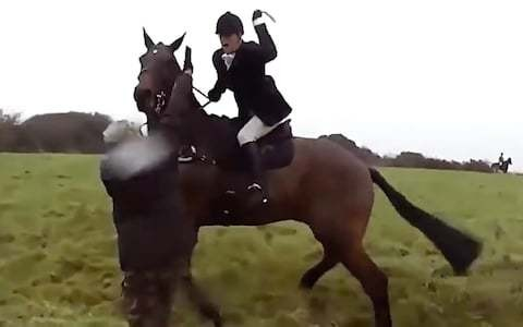 Huntswoman filmed whipping saboteur with her riding crop later died when her horse fell on top of her