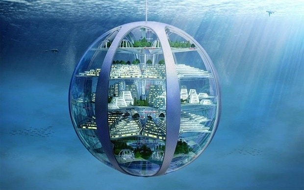 Humans will live underwater in 100 years' time as the population is squeezed out of cities