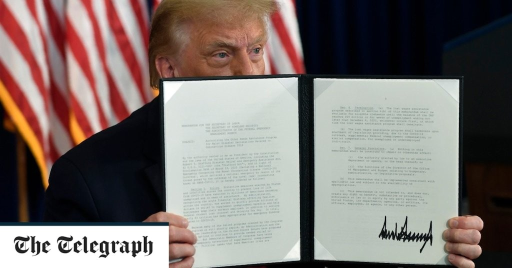 Donald Trump signs executive orders on coronavirus relief