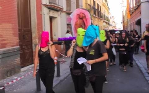 Women face jail for 'religious hate crime' over giant plastic vagina protest that 'mocked' the Easter procession