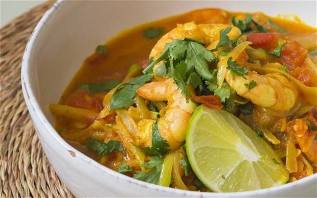 Speedy weeknight suppers: prawn, green chilli and tomato curry