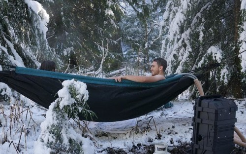 Is the hot tub hammock genius or just a soggy lilo?
