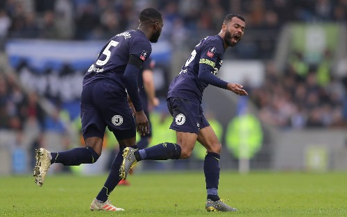 Brighton hold off late Derby threat to reach FA Cup quarter-final as Ashley Cole nets consolation