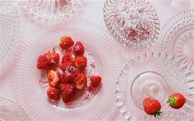 Strawberries and raspberries with rose sugar recipe