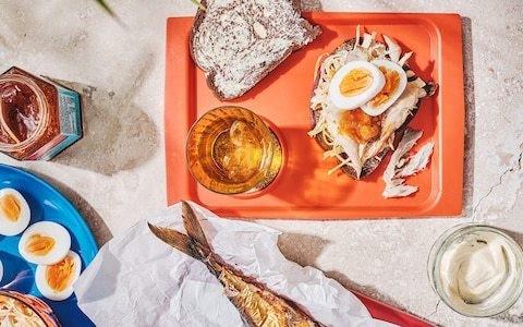 Smoked mackerel, egg and creamy spiced slaw sandwich recipe