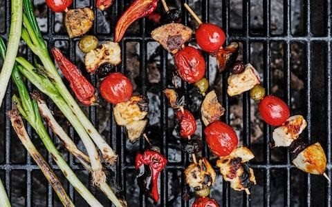 Harissa halloumi skewers recipe