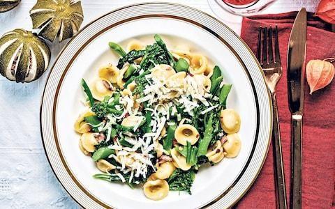 Orecchiette with purple sprouting broccoli and anchovies recipe