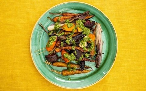 Roast vegetables with salsa verde recipe