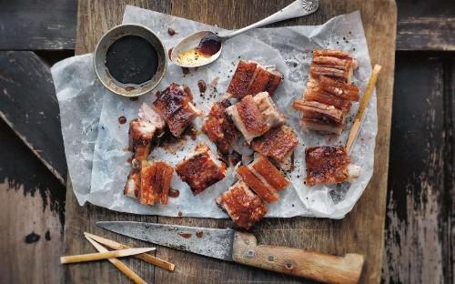 Basque pork belly pintxos with sherry vinegar and quince glaze
