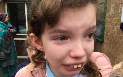 Mother shares image of crying daughter to highlight impact of teaching staff striking at school with special needs children
