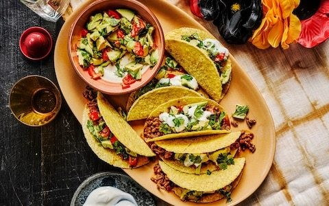 Spicy beef and pork tacos with avocado salsa recipe