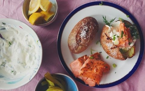 Friday night dinner: Baked potatoes with hot smoked fish, sour cream and pickled cucumber