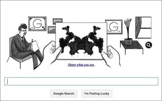 Hermann Rorschach's Google Doodle celebrates his inkblot test