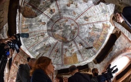 Laser technology uncovers 1,600-year-old Christian frescoes in Rome's biggest catacomb