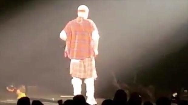 Justin Bieber falls off stage – and the cringeworthy moment is caught on film